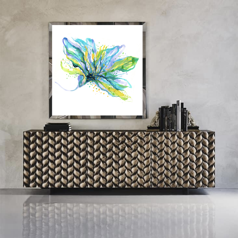 40x40-BlueFlower-ViorikaZagorowska-ArtForSale.in
