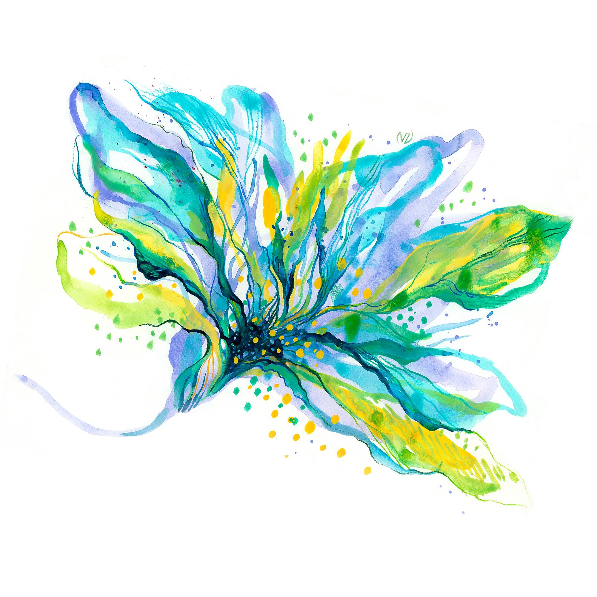 40x40-BlueFlower-ViorikaZagorowska-ArtForSale